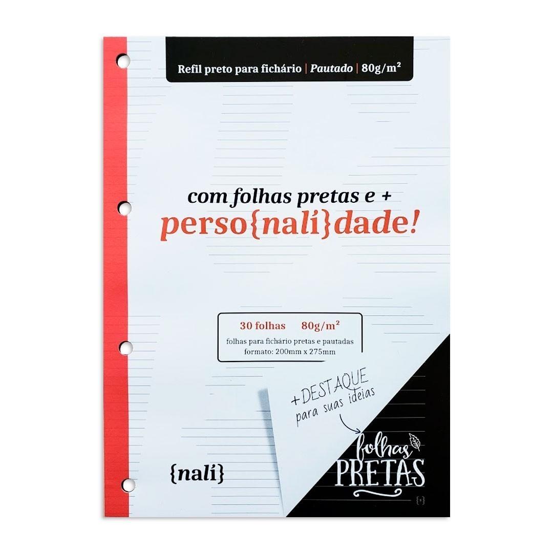 BLOCO NALI PARA FICHARIO UNIVERSITARIO/A4 80G COM 30 FOLHAS PRETA