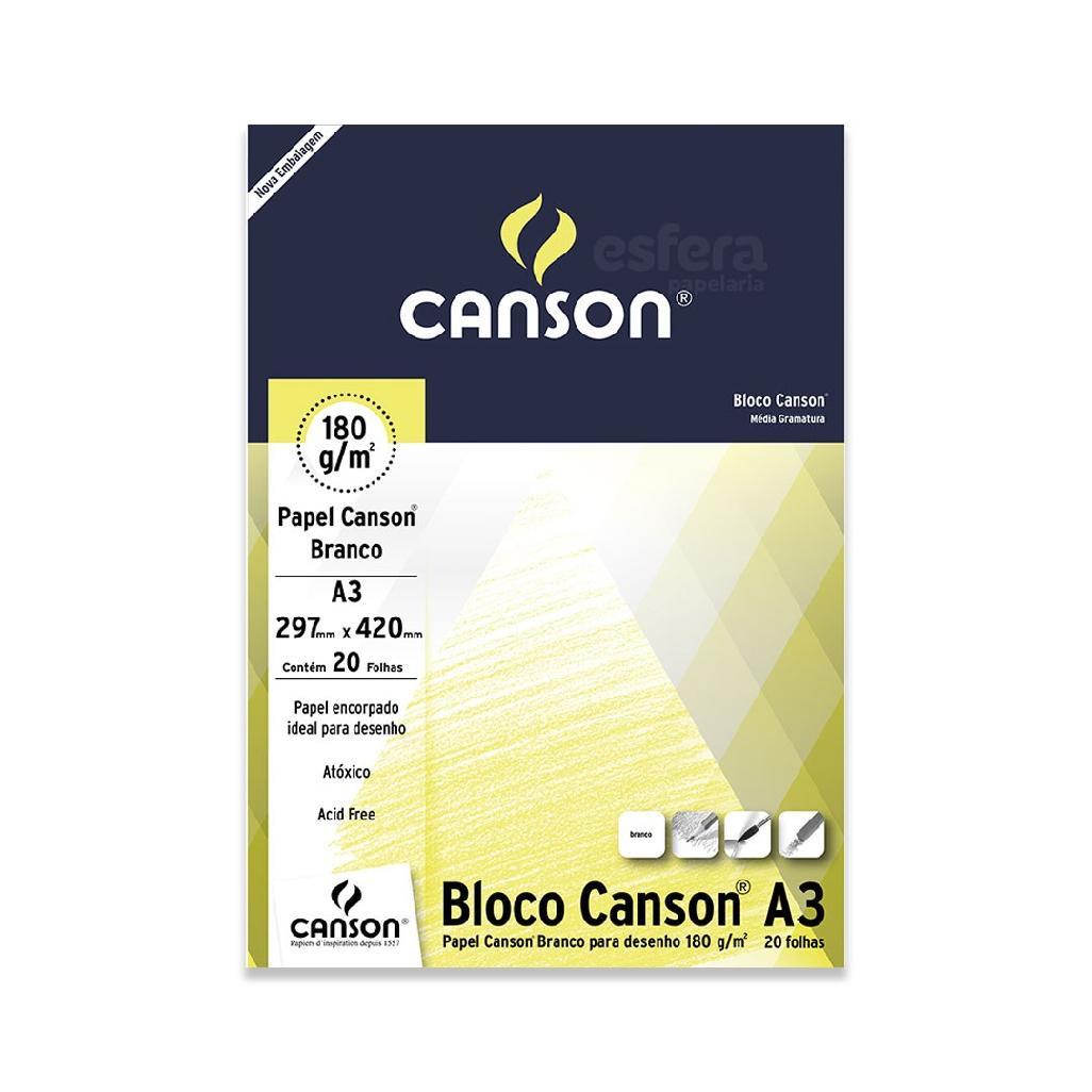 BLOCO PARA DESENHO ESTUDANTE COM 20 FOLHAS 180GM2 BRANCO CANSON