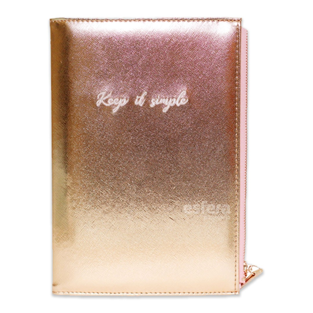 CADERNO A5 COM ESTOJO PU ZIPER KEEP IT SINGLE ROSA 3306 SL-NB0026 BEE UNIQUE
