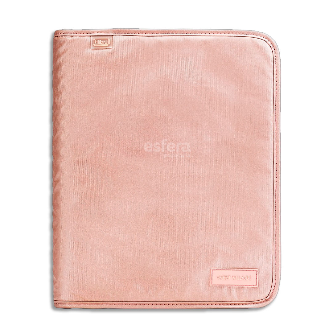 CADERNO ARGOLADO WEST VILLAGE METALIZADO ROSE 313688 TILIBRA