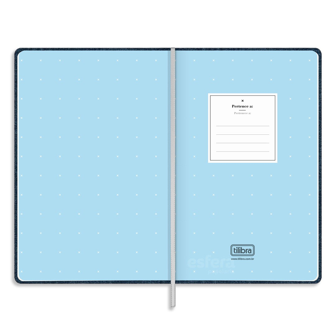CADERNO COSTURADO PONTILHADO FITTO CAMBRIDGE DENIM GRANDE 80 FOLHAS 314358 TILIBRA