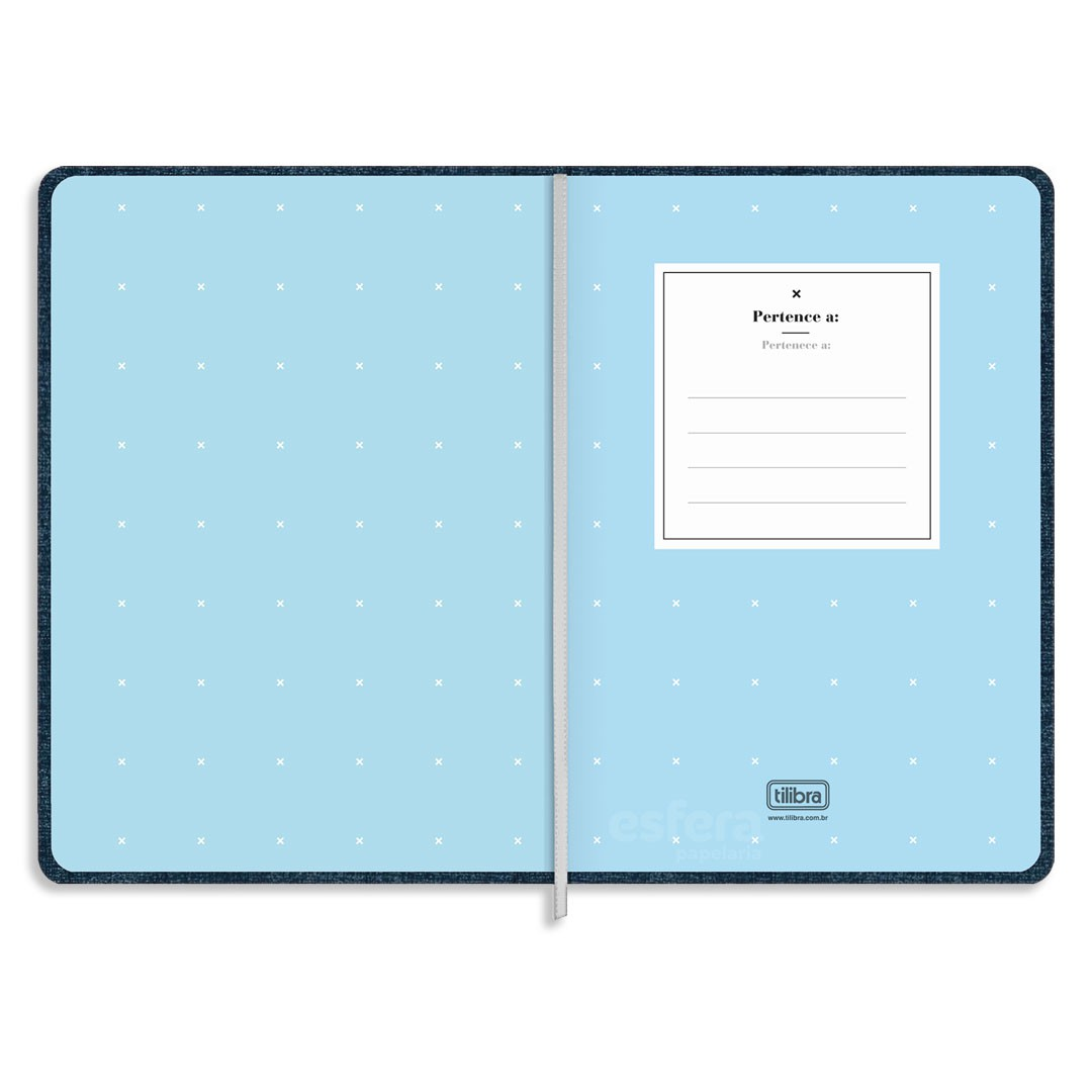 CADERNO COSTURADO SEM PAUTA FITTO CAMBRIDGE DENIM MEDIO 80 FOLHAS 290874 TILIBRA
