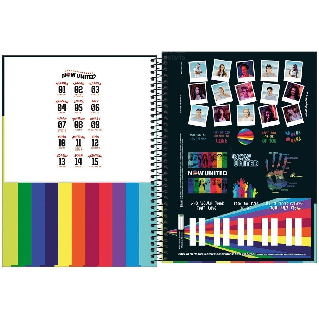 CADERNO UNIVERSITARIO NOW UNITED 1 MATERIA 80 FOLHAS TILIBRA