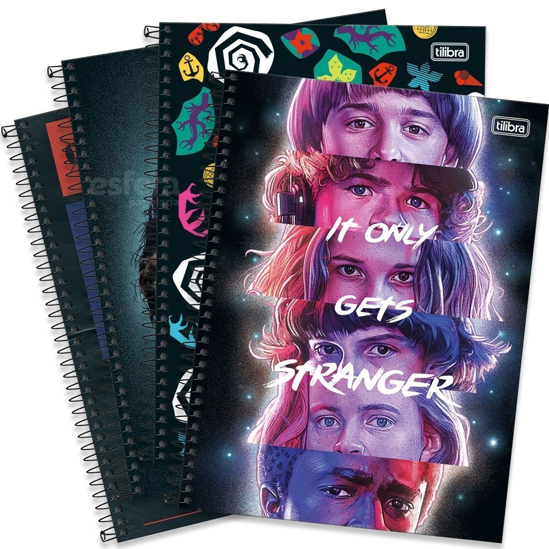 CADERNO UNIVERSITARIO STRANGER THINGS 1M 80FLS 294136 TILIBRA