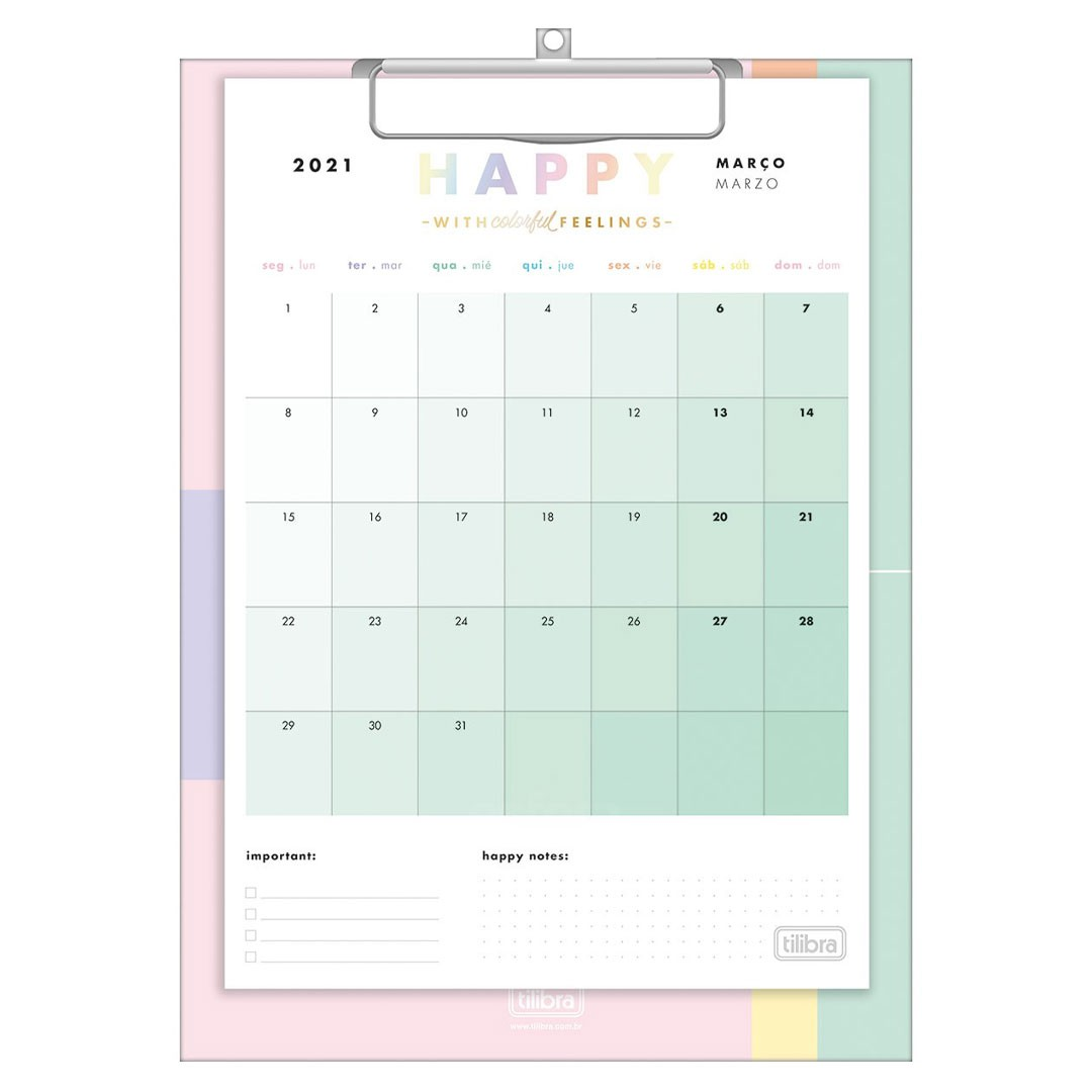 CALENDARIO PLANNER PRANCHETA HAPPY 2021 TILIBRA