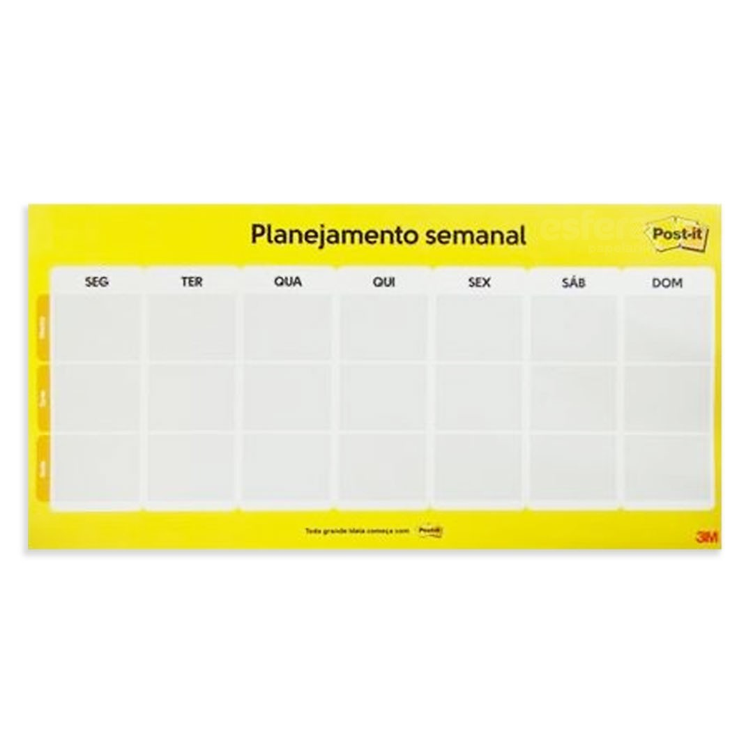 CALENDARIO SEMANAL POST-IT COM 2 BLOCOS ADESIVOS 3M