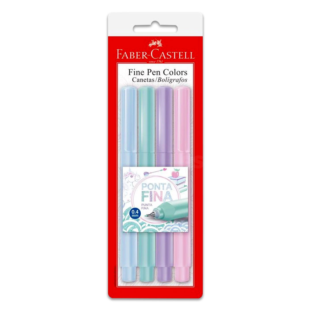 CANETA FINE PEN TONS PASTEIS 4 CORES FPB/TPZF FABER-CASTELL