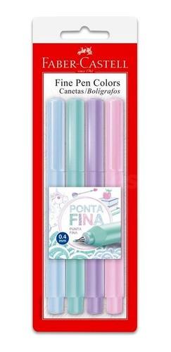 CANETA FINE PEN TONS PASTEIS COM 4 CORES FABER-CASTELL