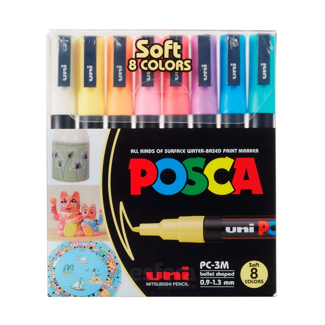 CANETA POSCA PC-3M SOFT COLOR ESTOJO COM 8 CORES PASTEIS
