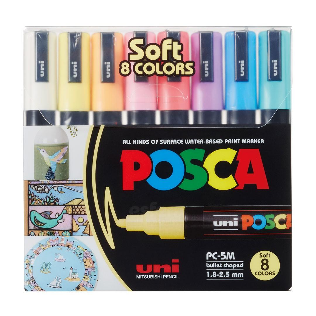 CANETA POSCA PC-5M SOFT COLOR ESTOJO COM 8 CORES PASTEIS
