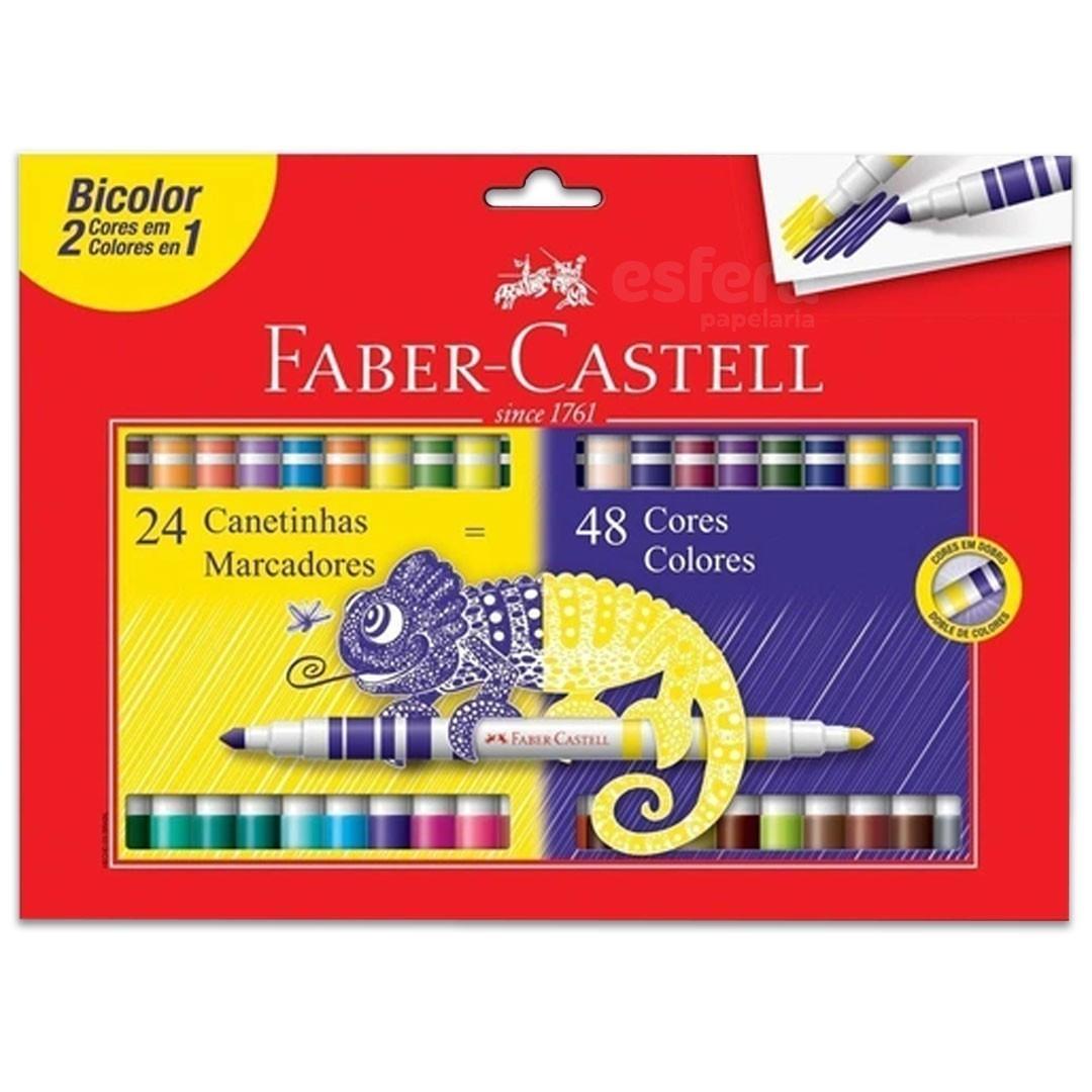 CANETINHA BICOLOR 24 CANETAS/48 CORES FABER-CASTELL