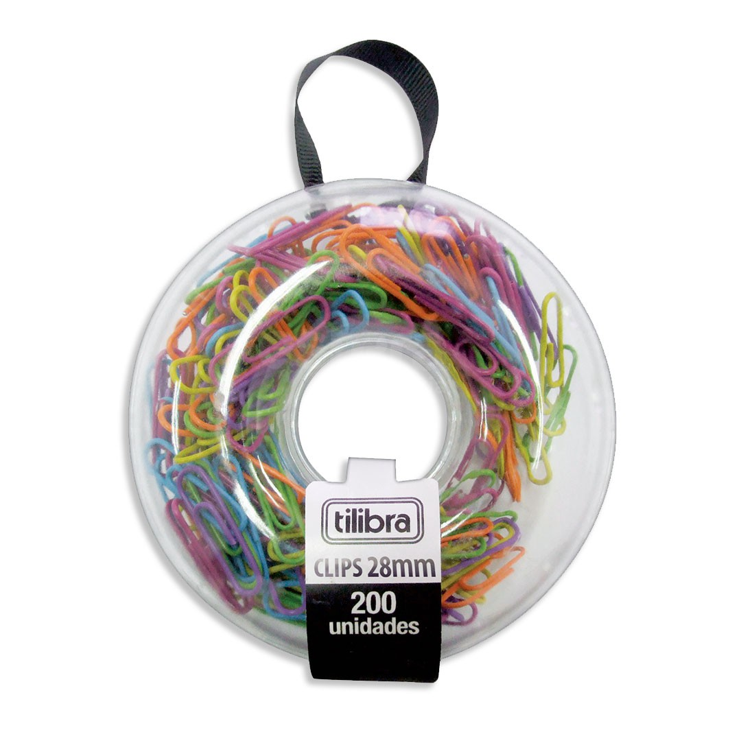 CLIPS 28MM COLOR DONUT COM 200 UNIDADES 178276 TILIBRA