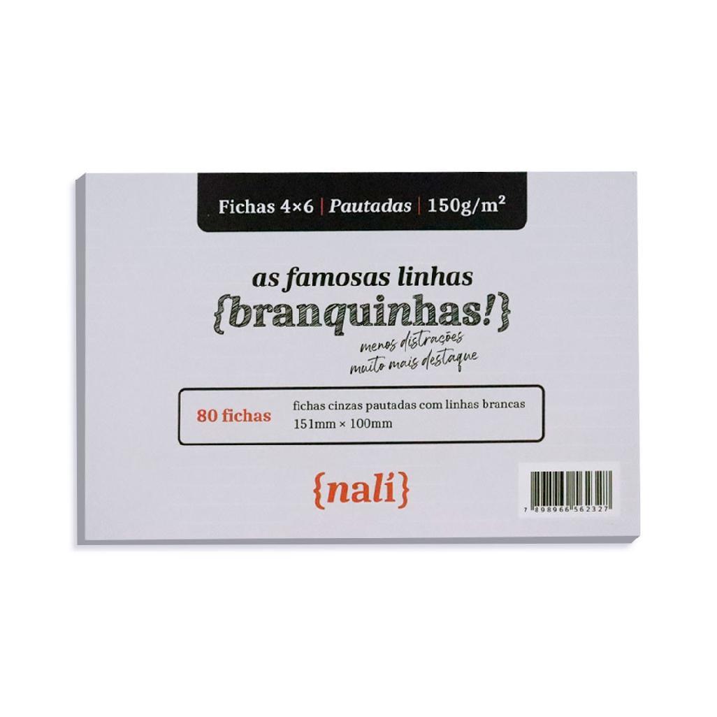 FICHAS NALI 4X6 150G COM 80 FOLHAS LINHAS BRANCAS