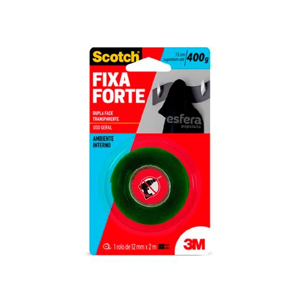 FITA FIXA FORTE TRANSPARENTE 12MMX2M 400G 3M