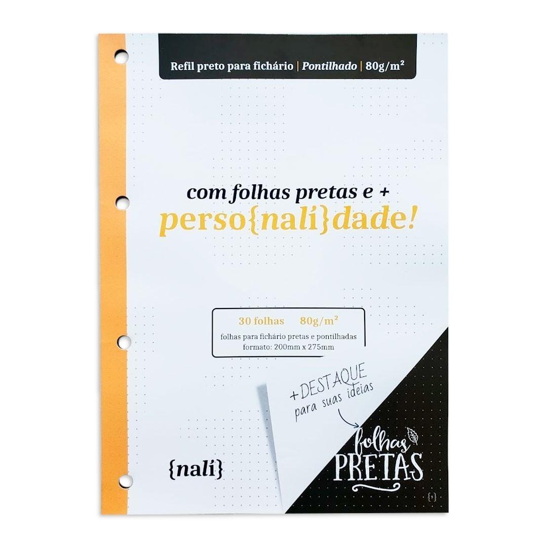 KIT BLOCO NALI PRETO PARA FICHARIO 80G COM 30 FOLHAS ( PAUTADO, PONTILHADO, QUADRICULADO)