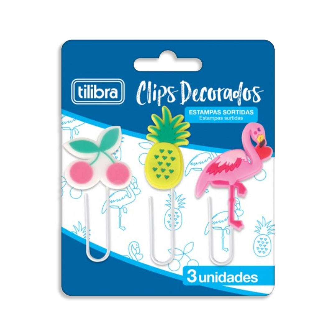 KIT COM 3 CLIPS DECORADOS CEREJA ABACAXI E FLAMINGO 302791 TILIBRA