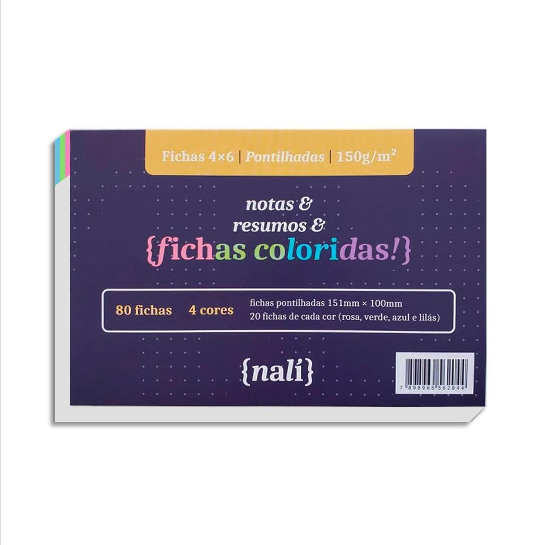 KIT FICHAS NALI 4X6 150G COM 80 FOLHAS ( PAUTADO, PONTILHADO, QUADRICULADO)