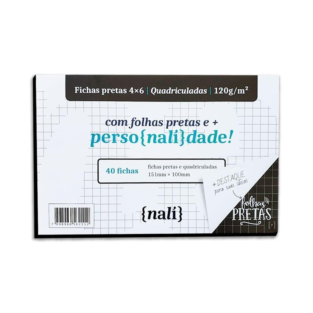 KIT FICHAS NALI PRETA 4X6 120G COM 40 FOLHAS ( PAUTADO, PONTILHADO, QUADRICULADO)