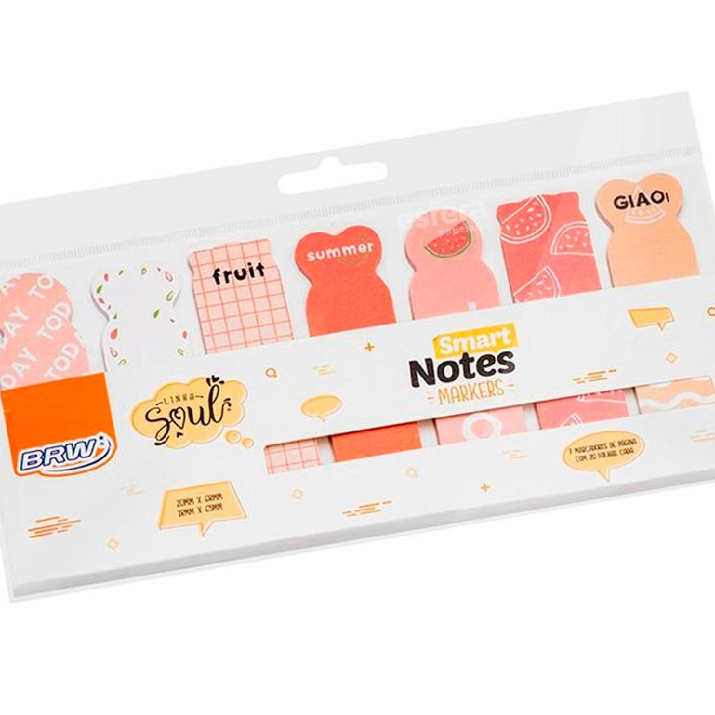 MARCA PAGINAS SMART NOTES MARKERS 18X65MM COM 20 FOLHAS FRUTAS BA0503 BRW