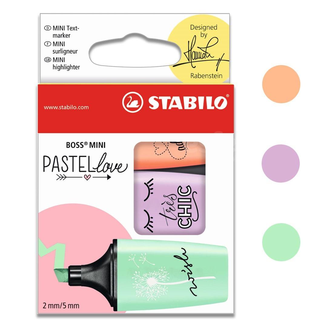 MARCADOR DE TEXTO ESTOJO COM 3 LOVE MINI PASTEL 07/03-47 STABILO