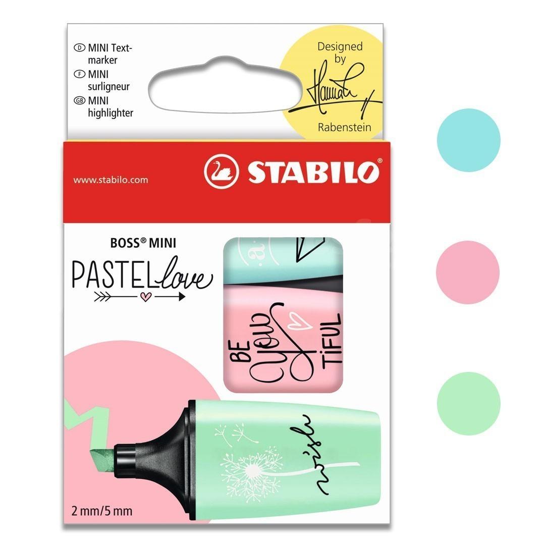 MARCADOR DE TEXTO ESTOJO COM 3 LOVE MINI PASTEL 07/03-57 STABILO