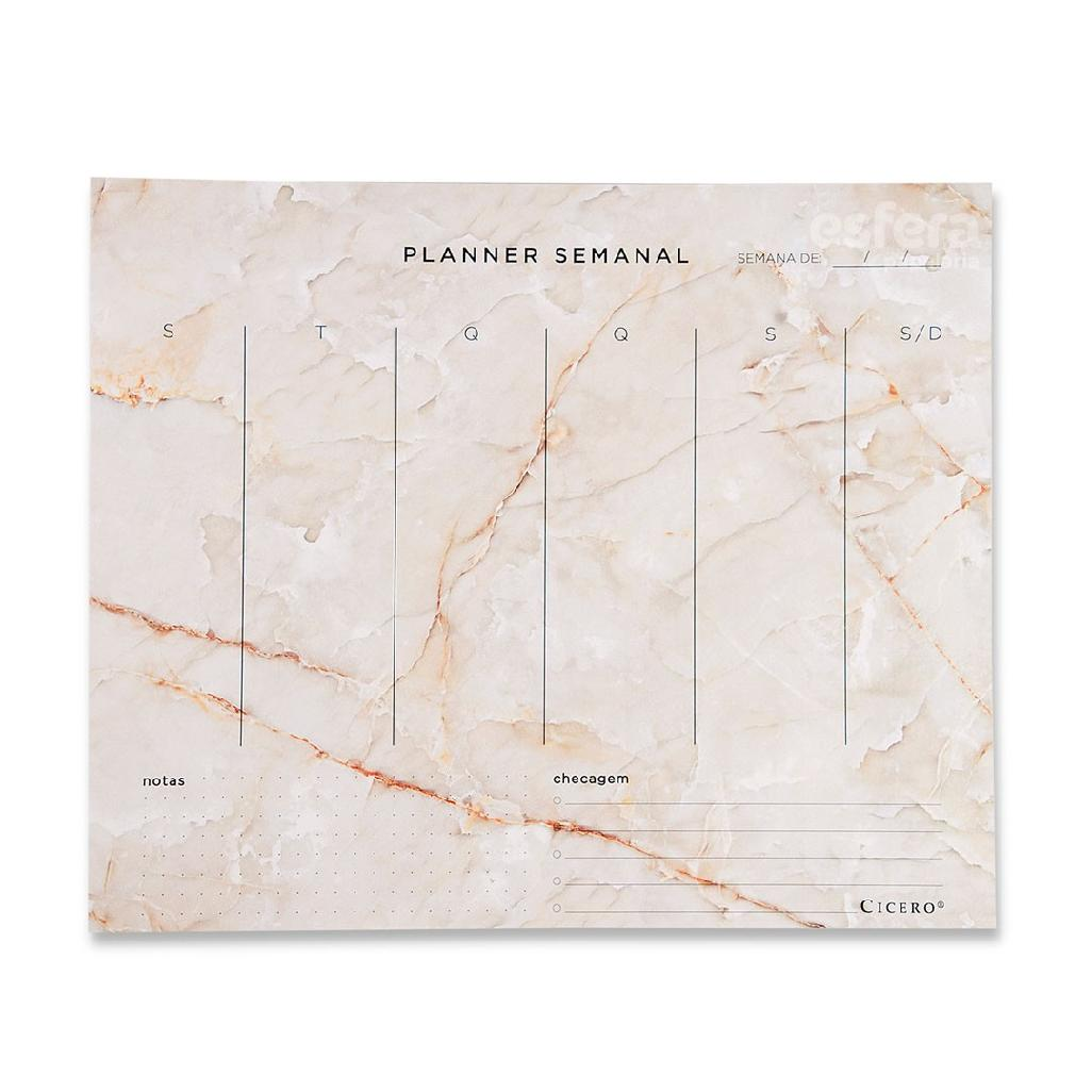 PLANNER BLOCO SEMANAL 24.5X20.3 MINERAIS MARMORE BRANCO CICERO