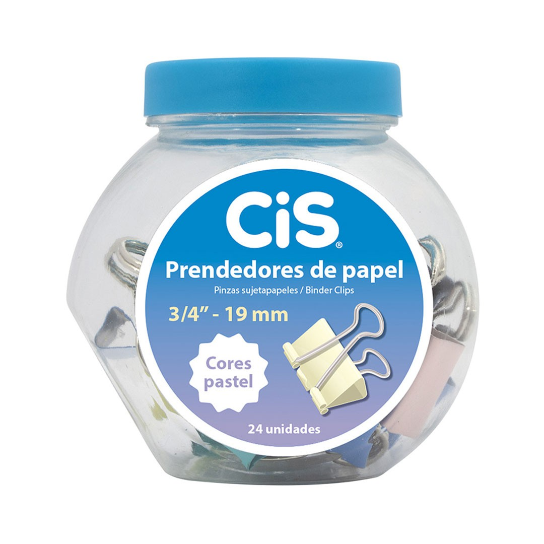 PRENDEDOR DE PAPEL 19MM PASTEL CIS