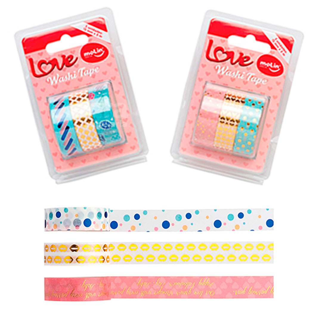 WASHI TAPE LOVE COM 3 UNIDADES 23380 MOLIN