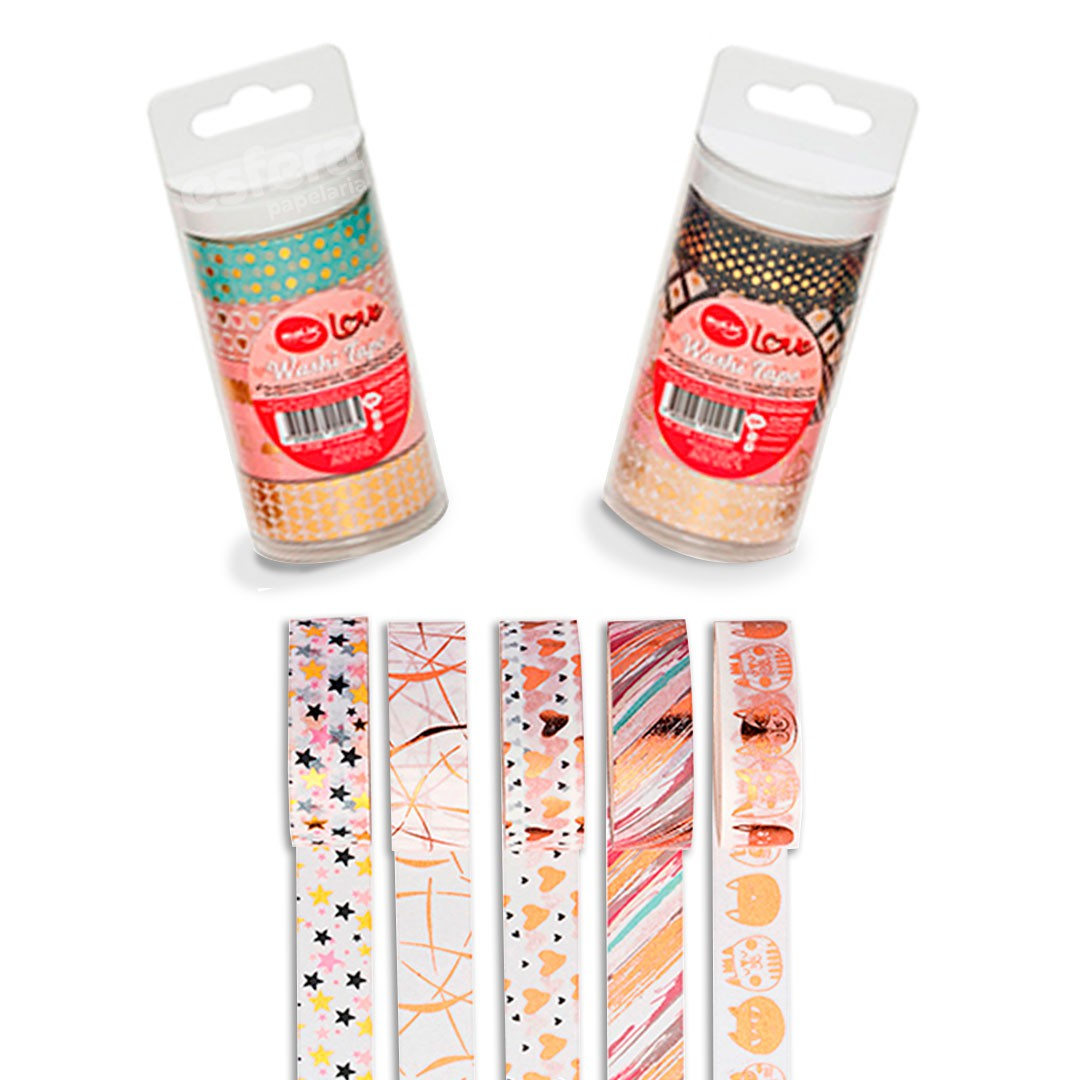 WASHI TAPE LOVE COM 5 UNIDADES 23381 MOLIN