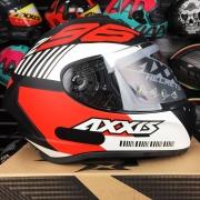 Capacete Axxis Draken Z96 Preto Fosco vermelho Branco