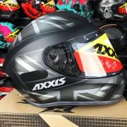 Capacete Axxis Draken UK Inglaterra Preto Cinza Fosco