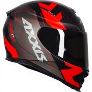 Capacete Axxis Eagle Diagon Preto Fosco Vermelho Black Red