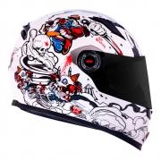 Capacete LS2 FF358 Classic Crazy Clown Branco Brilhante