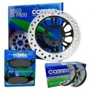 Disco de Freio Titan 150 Fan 150 CG 2009 em diante + Pastilha de Freio + Patim Lona Cobreq