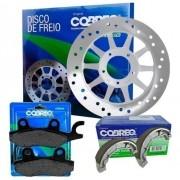 Disco de Freio Ybr 125 2000 até 2008 + Pastilha + Lona Cobreq