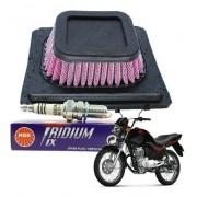 Filtro Ar Esportivo + Vela Iridium Fan Titan 150 09-13 Royale NGK