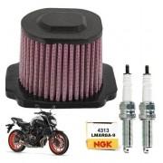 Filtro de Ar Esportivo Yamaha MT-07 MT07 Royale + Velas NGK