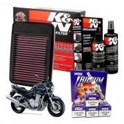 Filtro de Ar K&N Bandit 1250 + Kit Limpeza + Velas Iridium NGK
