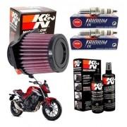 Filtro de Ar K&N CB 500F CB500F K N Vela Iridium Kit Limpeza