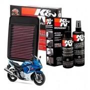 Filtro de Ar K&N GSX 650F GSX650F 650F Esportivo + Kit Limpeza