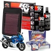 Filtro de Ar K&N GSX 650F GSX650F + Kit Limpeza + Velas Iridium NGK
