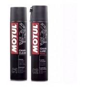 Kit Motul C1 + C2 Para Limpeza De Corrente Moto Chain Lube