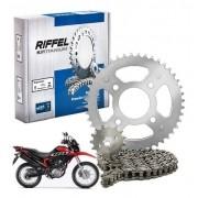 Kit Relação NXR Bros 160 Tração Transmissão Todas Riffel aço 1045