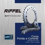 Kit Relação Transmissão Tração CBX 200 Strada Riffel Aço 1045