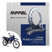 Kit Relação Transmissão Tração Xtz 125 Riffel Aço 1045