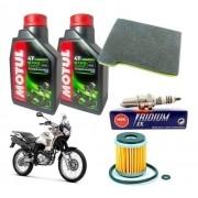 Kit Revisão Tenere 250 até 2015 Filtro Óleo Motul 10W40 Vela Iridium