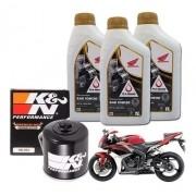 Kit Troca Oleo CBR 600 RR 600RR Filtro K N Kn  Óleo 10w30