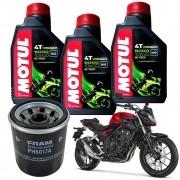 Kit Troca Oleo Filtro Fram Honda Cb 500F F Motul 5000 10w30