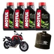 Kit Troca Oleo Filtro K&N K N Honda Cb 650f Motul 5100 10w30 Kn-204