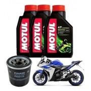 Kit Troca Oleo Fram Yamaha Yzf-r3 Motul 5000 10w40